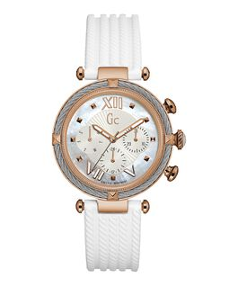 Ladies Silver & Rose Gold Case White Silicone Watch  large