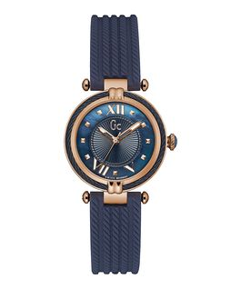 Ladies Rose Gold Case Blue Silicone Watch  large